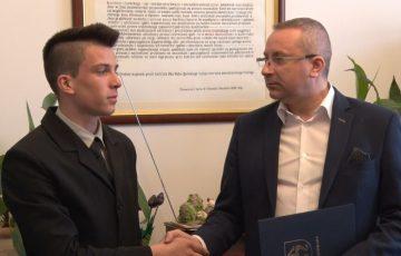 Jakub Przydział nagrodzony przez burmistrza