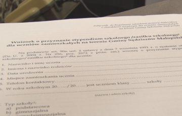 Wnioski o stypendium szkolne od 1 września